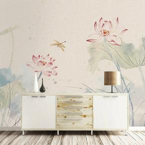 现代中式荷花壁纸手绘水墨墙纸定制卧室客厅书房电视背景壁画