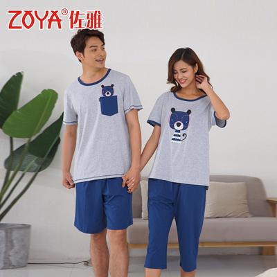 佐雅夏季小熊卡通情侣短袖睡衣男女大码外穿灰蓝 本命年红色品牌巨惠
