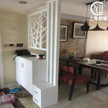 白色双面钢琴烤漆风水玄关柜鞋柜门厅隔断柜镂空雕花屏风现代简约