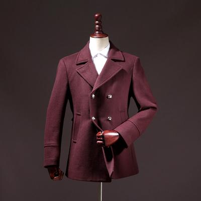 工厂剪标男装冬季双排扣中长款翻领羊毛尼夹棉大衣外套