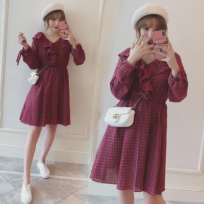 韩版秋装新款大码女装胖mm中长款荷叶边宽松显瘦减龄连衣裙200斤