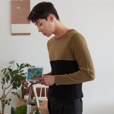 韩国代购时尚圆领针织衫Mutnam正品2018秋装新款简单拼色针织衫男