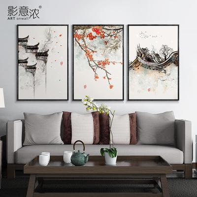 新中式装饰画徽派建筑三联组合挂画客厅餐厅卧室书房酒店复古壁画哪里便宜