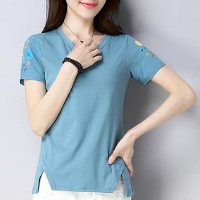 短袖T恤打底衫纯棉布短款上衣服中年女装胖子妈妈小衫春秋衣外穿