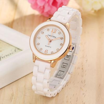 女陶瓷手表女白色镶钻