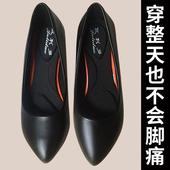 空姐高跟鞋 2019新 晚会旗袍细跟单鞋 女黑色工装 真皮舒适职业工作鞋