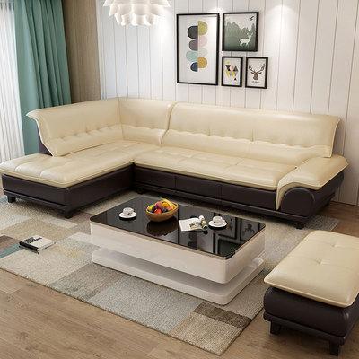 皮沙发头层真牛皮小户型客厅组合现代简约L型转角中厚进口皮沙发2018新款