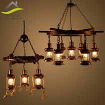 美式工业风餐厅酒吧台饭店灯怀旧铁网笼玻璃灯罩单头小吊灯复古