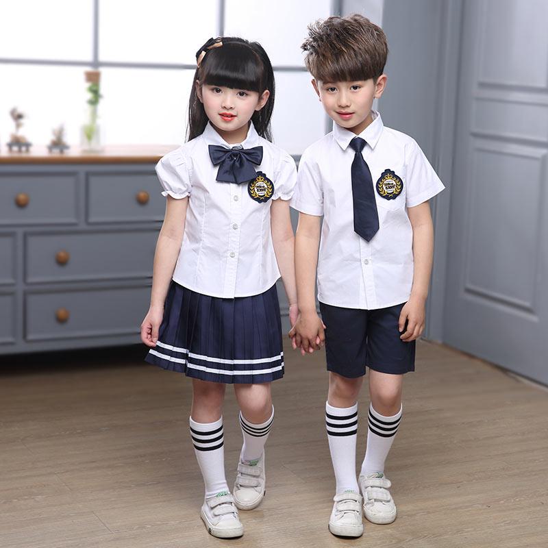 校服短袖套装女孩短裙衬衫蝴蝶结男孩领带小学生演出服幼儿园园服