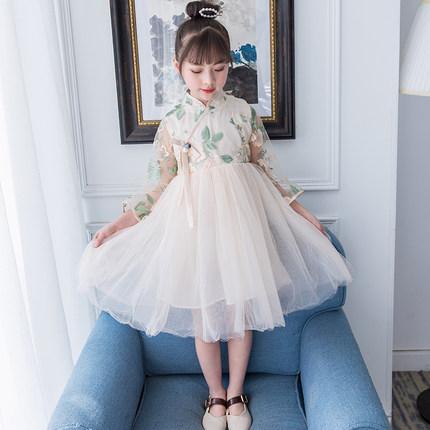 女童连衣裙2019新款洋气春秋薄款中大儿童汉服中国风夏装公主纱裙