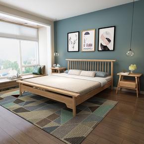 全实木床白蜡木创意双人床北欧床1.5米1.8米1.2米简约muji日式床