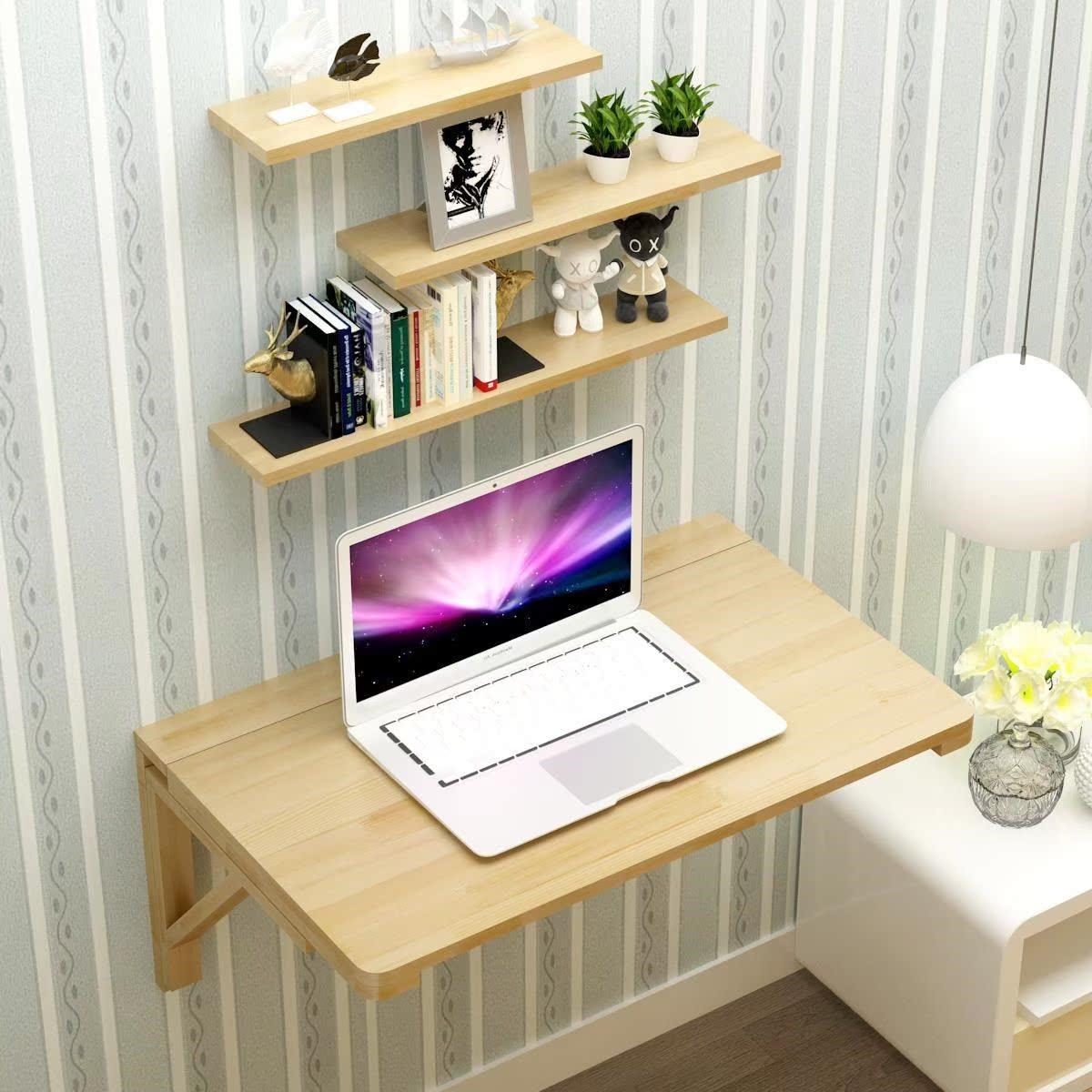 餐枱墙上桌子折叠壁挂多功能实木折叠桌书桌壁挂桌挂在墙上的桌子
