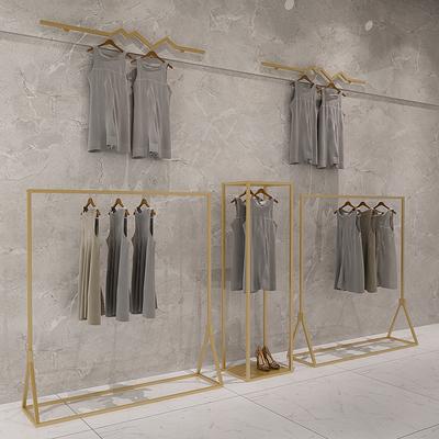 创意金色服装架中岛架衣服展示架陈列架落地式女装店衣架侧挂货架