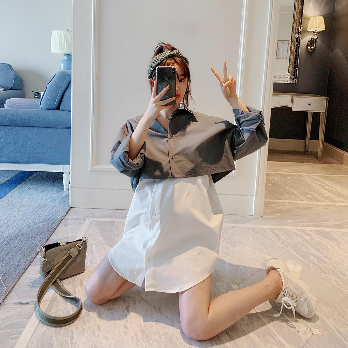 孕妇秋装潮2019新款时尚拼色假两件衬衫韩版宽松上衣女中长款辣妈