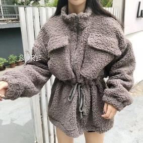冬季新款韩版高品质羊羔绒外套收腰显瘦百搭羔羊毛中款外套韩范女