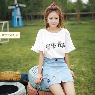蘑菇街快魚女装夏新款韩版时尚撞色纯色刺绣小衫短袖女T恤上衣潮
