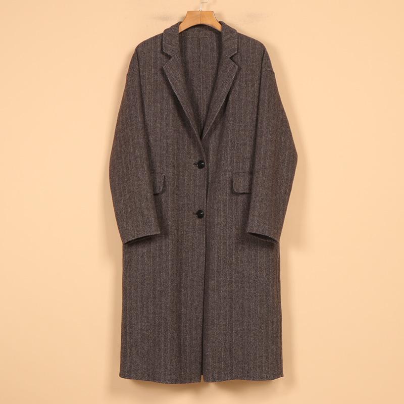 2018冬季新品女装8A8061韩范休闲长袖时髦纹一粒扣双面呢大衣