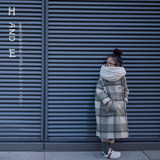 H AND E original design girl green gesen plaid double-faced wool coat thickening children's woolen coat