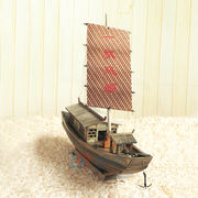 Handmade solid wood making simulation wooden boat model Wooden fishing boat fishing boat awning boat crafts decorative ornaments