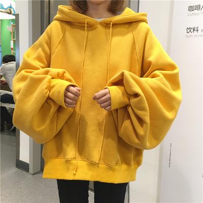 秋冬韩版新款套头连帽卫衣女灯笼袖加绒加厚学院风宽松bf巨袖外套