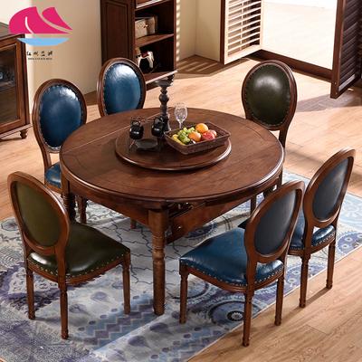 美式家用方圆两用餐桌椅组合一桌六椅折叠桌实木8人 10人伸缩饭桌