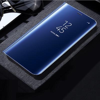三星note5电镀镜面立式智能手机壳 galaxy note8翻盖支架休眠皮套