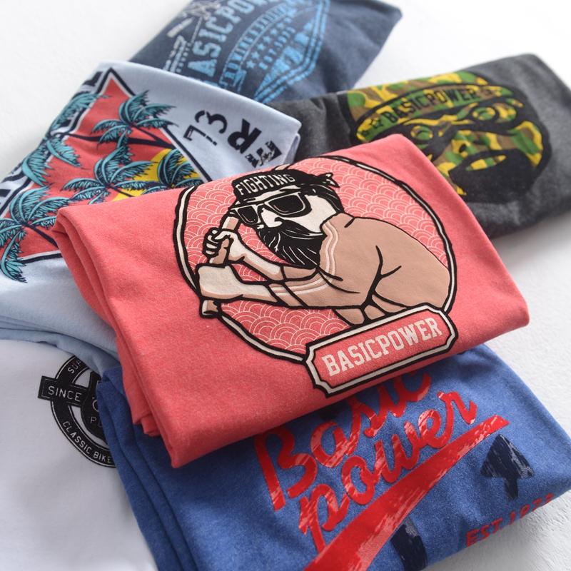 创意印花纯棉针织圆领短袖T恤男打底衫 夏季简约潮流修身学生上衣