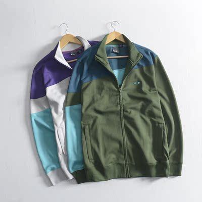 欧美休闲!秋冬款男士运动时尚拼接开衫卫衣外套立领长袖外穿上衣