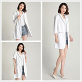 Skin management clothing high-end custom beauty salon embroidery artist medical plastic surgeon slim white big coat