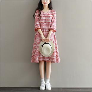 夏季女装民族风裙流苏复古印花中长款显瘦A字裙五分袖棉绸连衣裙