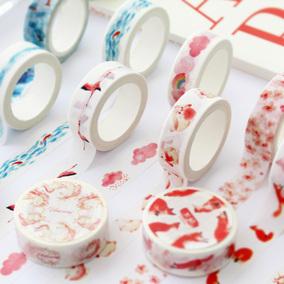 沐谷文创小清新森系手帐和纸胶带整卷 粉色手账DIY装饰贴纸素材