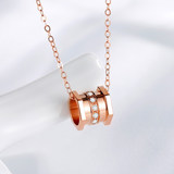 Shi Luolin small waist diamond necklace female 18K rose gold color gold au750 genuine pendant real diamond clavicle chain