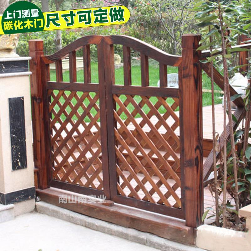 碳化木门户外防腐花园门围栏篱笆庭院门实木栅栏门架松木门架定制