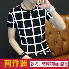 夏季韩版男士T恤男短袖圆领修身体恤半袖衣服男装打底衫潮流上衣