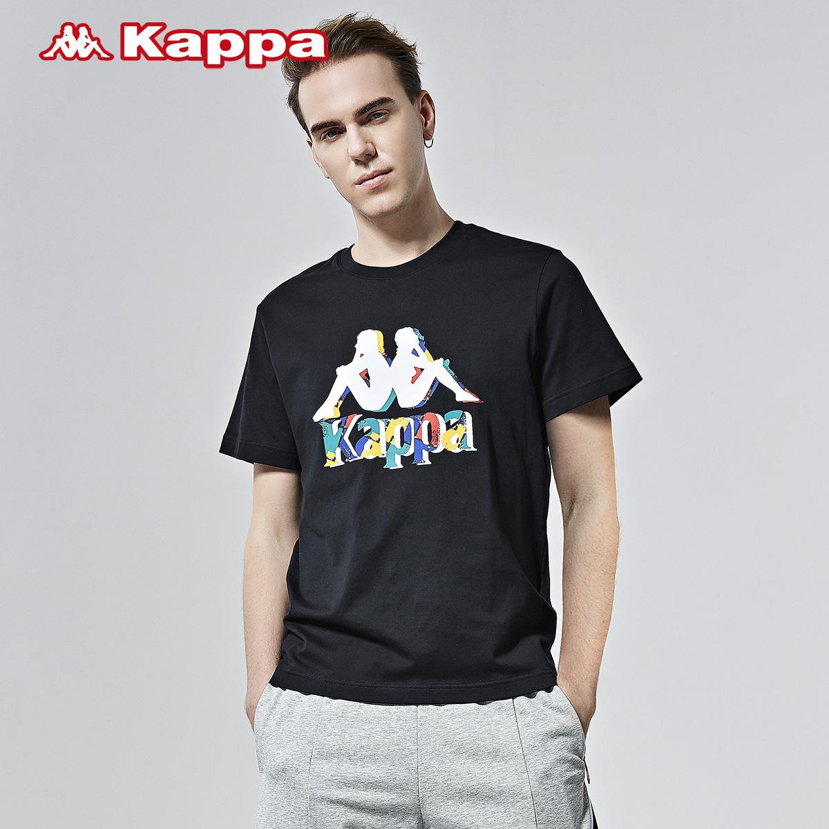 Kappa卡帕男款运动短袖休闲圆领T恤夏季幻彩印花针织半袖2020新款