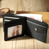 Old Street Memory Handmade Wallet Men Leather Retro Short Wallet Pure Hand Sewing DIY Leather Driving License Bag