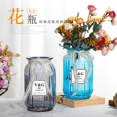 田园风玻璃花瓶摆件梅森款水培瓶家居饰品客厅餐桌鲜花干花插花瓶
