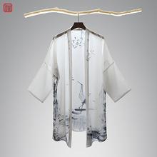 汉服男装披风青年中国风印花男士仙气开衫仙鹤夏季古风外套男薄款