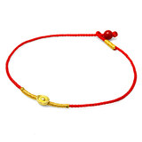 3d hard gold gold anklet with gold beads red rope simple niche design gold and men couples pig year of birth