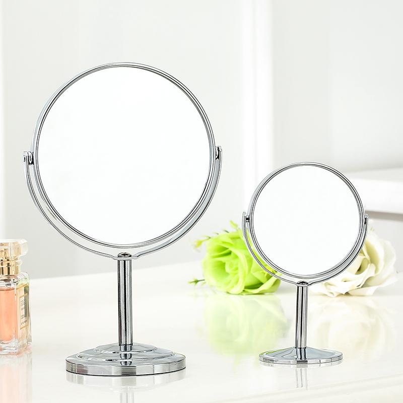 高清双面台式化妆镜不锈钢放大镜梳妆镜 小镜子办公室寝室桌旋转