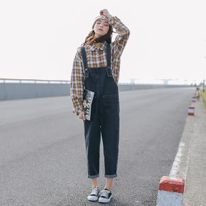 2018新款韩版春秋ulzzang黑色宽松牛仔背带裤女高腰bf学生百搭