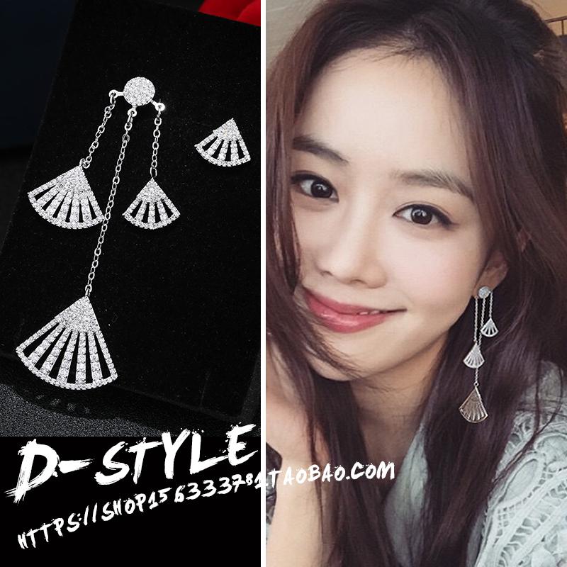 耳环韩国气质长款吊坠女不对称.