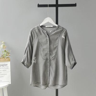 欧美2019春夏宽松休闲七分袖破洞纯棉牛仔衬衣女薄款显瘦灰色衬衫