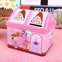 Cartoon large piggy bank child shatter-resistant small house with latched money jar Korean creative boy girl gift
