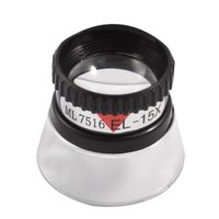 Stamp Collector Loupe Black Clear Plastic 15X Magnifier