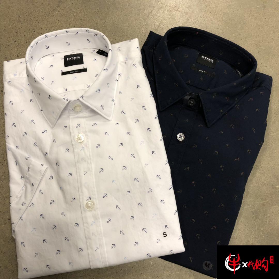 牛X正品 Hugo boss男士高端新款纯棉修身款短袖衬衣 免烫休闲衬衫