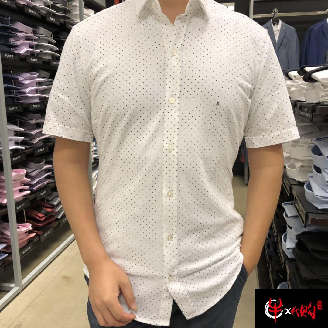 牛X正品 Hugo boss男士高端新款纯棉短袖衬衣 免烫休闲衬衫