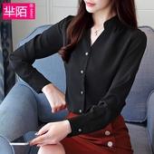 吸睛垂感休闲上衣女士v领衬衣黑色衬衫 新款 雪纺衫 2018秋装 女长袖