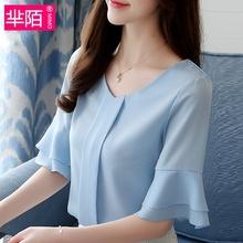雪纺衫女短袖2019夏装新款韩版甜美荷叶边超仙气质上衣显瘦小衫潮