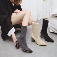 网红靴子女2018秋冬新款尖头短筒弹力袜靴百搭粗跟瘦瘦靴高跟短靴